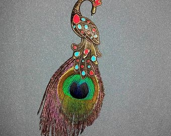 Large Peacock pendant and its feather genuine 17 cm long by 40mm wide