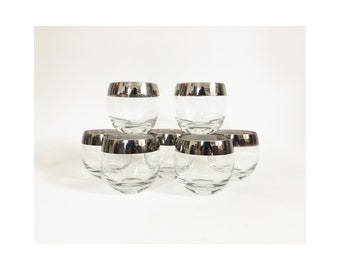 Large Mid Century Silver Rimmed Roly Poly Glasses / Set of 7