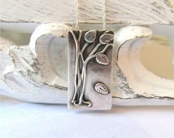 Silver Tree Necklace, Artisan Tree Pendant, Woodland Pendant, Leaf Necklace