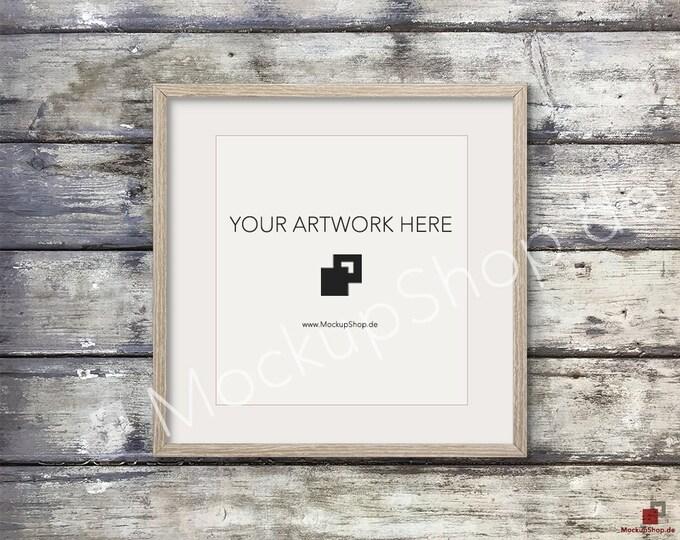 SQUARE MOCKUP FRAME on old wooden wall, Frame Mockup, Amazing brown photo frame mockup, Digital Download