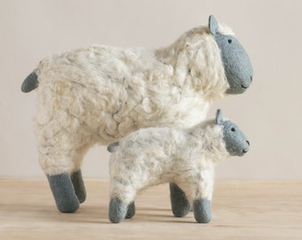 Hand Felted Sheep Duo