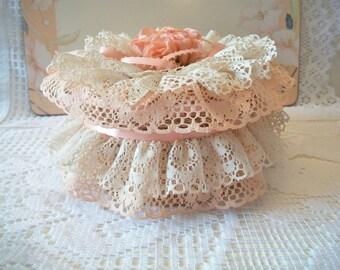 Vintage Peach Ruffle Lace Trinket Box Basket Shabby Chic Romantic Feminine Cottage