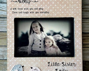 Big Sis, Little Sis,Sisters Picture Birds, Little Sister, Kid Baby Frame, Personalized Sisters Gift Children 4x6 5x7 Art
