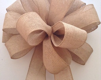 Burlap Tree Topper / Christmas Tree Topper / Natural Xmas Bow / Burlap Bow / Christmas Tree Bow / Handmade and Design in wired ribbon