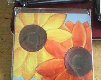 Sunflower painting on coaster
