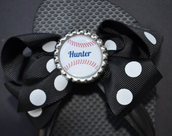 Personalized, custom interchangeable baseball flip flop bows You CHOOSE bow color baseball mom idea travel baseball