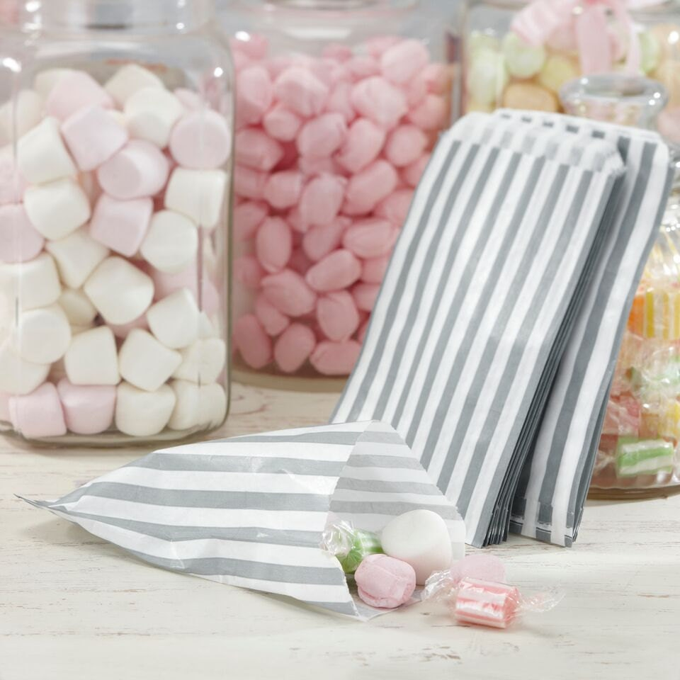 Candy Bags | Silver and White Treat Bags | Wedding Favour Bags ...
