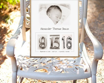 Baptism Gift | Christening Gift | Birth Announcement | Birth Date Print | Sepia | Black and White 8x10 | Date Photos | Custom Baby Gift