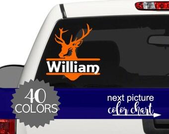 Deer Head Decal, Deer Car Decal, Personalized Hunting Gift, Hunting Car Decal, Buck Decal for Car, Gift for Boyfriend, Truck Decals CDOD2A