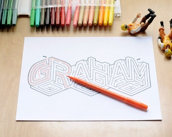GRAHAM Name Maze / Instant DOWNLOAD Printable PDF / Personalized Activity for All Ages / Hand-drawn