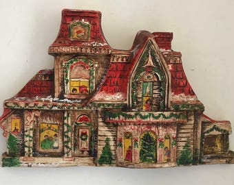 Vintage Hand Painted Christmas Victorian House Clay Wall Hanging