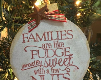 Funny Christmas Ornament about Families. Making Memories that will last. They are 4 by 4 with plenty of room for a message on the back.