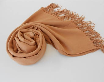 Wedding Gift Pashmina Scarf Camel Brown Scarf Shawl Outdoor Gift Travel Gift Beauty Gift Holiday Christmas Gift For Her For Mom For Wife