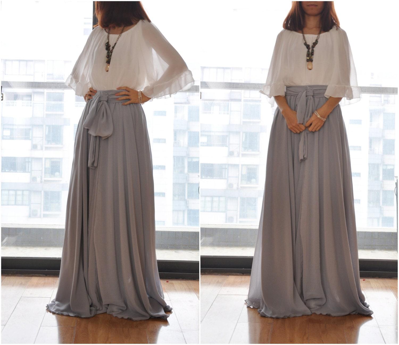 Beautiful Bow Tie Chiffon Maxi Skirt Silk Skirts Gray Elastic