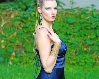 Gold  Gauntlet  Bracelet Armor Crochet Wire Cuff Elegant Av-ant Guard Prom or Bridal Body Jewelry