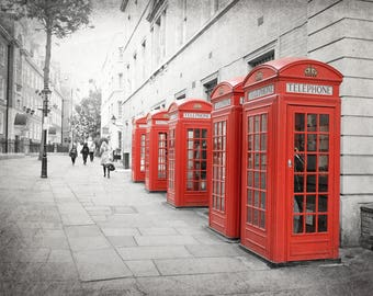 London Print, Red Phone Box, London Photography, Red Phone Booth, Travel Decor, Wall Art, Home Decor, Black and White, or Color