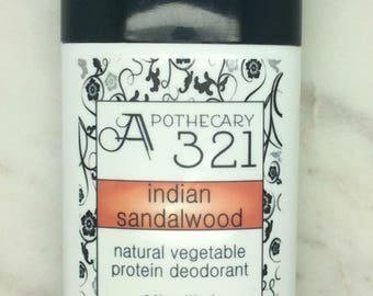 Indian Sandalwood Natural Deodorant, Aluminum Free, Paraben Free Vegan Deodorant Sandalwood Scented