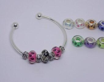 dog memorial bead bracelet, pet memorial jewelry, european bead bracelet, pet ashes bead, dog memorial jewelry, pet memorial, pandora charm,