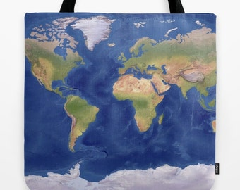 Modern tote bag etsy world map tote bag modern topographical atlas map theme tote everything bag allover gumiabroncs Images