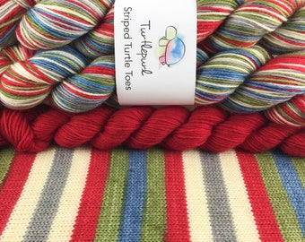 Rock Paper Scissors Lizard Spock - With Red Heel and Toe - Ready to Ship by May 4th - Hand-Dyed Self-Striping Sock Yarn