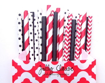 Red and Black Straws *Paper Straws -Red Straws -Black Straws-*Fire Truck -Chevron -Polkadot -Stripes -Solid *Cake pops -Red Wedding decor