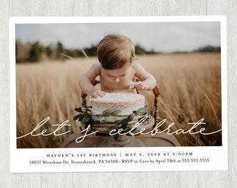 First Birthday Photo Invitation | Photo Birthday Invitation | Customized Digital File | Any Age (5x7)