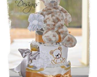 Neutral Diaper Cake Silver Gold, Plush Animal Neutral Diaper Cake, Retro Vintage Diaper Cake Table Centerpiece, Shower Centerpiece, Gift