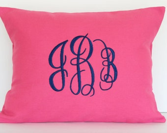 Decorative Pillow Monogrammed - Custom Throw Pillow Cover - Personalized Pillow Cover - Pillow Sham - Pillow Case - Dorm Decor - Kids Decor