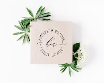 Custom Wedding Stamp, Circular Monogram Save The Date Stamp, Rubber Stamp, Self Inking Stamp, Bride Shower Gift, Wedding Gift Idea, DIY Gift