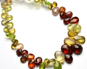 Natural Gemstone Multicolor Spinel Faceted Pear Shape Briolettes 3x5 to 6x9MM 6.5 Inch Full Strand Super Fine Quality Pear Shape Beads