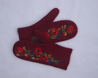 Felted Mittens Merino wool Red wine Red Flowers