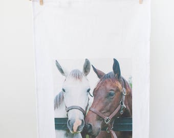 """Foals Photograph on Flour Sack Towel """"Two Foals""""/Kitchen Towel/Equestrian Kitchen/Horse Gift/Horse Lover/Kitchen Towel/Equestrian Style"""