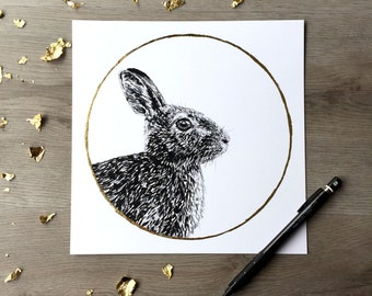 Lapin lapin germination herbe de lune April Print du dessin Original de Graphite avec feuille d'or Animal Portrait lapin lapin impression