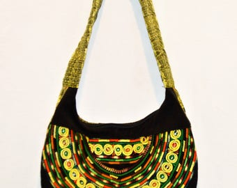 Ethnic Multicolored Over The Shoulder Embroidered Cloth Handbag Accessories Bags And Purses Boho Style ChooseFlavor