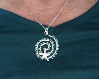 Swarovski beaded and fine silver  starfish necklace