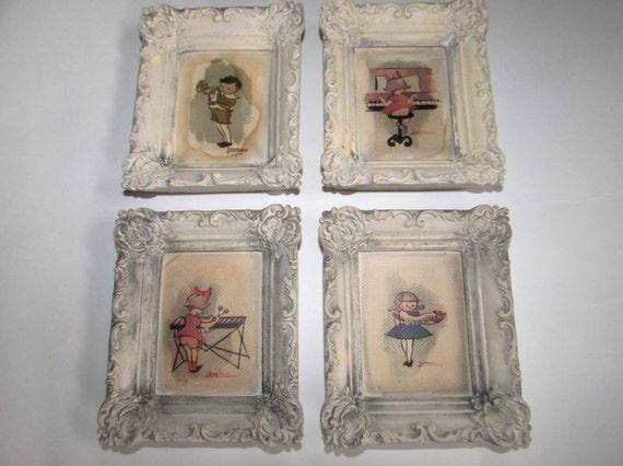 Set of Three Vintage Plaster Cast Frames of Wee Musicians