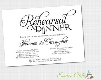 Rehearsal Dinner Invitation {Digital File} Rehearsal Invites {Custom file emailed to you)