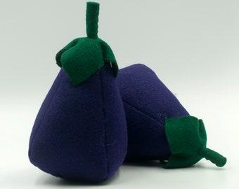 Felt food eggplant, Play food, Pretend food for play kitchen, Plush toy eggplant, Felt vegetable, Educational toy