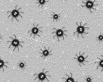 Henry Glass Fabric-Chills and Thrills Spiders-by Shelly Comiskey- One Yard Cut -Glow in the Dark Webs with spiders, 6974G-90,