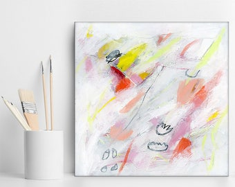 Small Abstract painting Original Art, Small Canvas Art gift, Canvas Painting whimsical white yellow pink by Duealberi