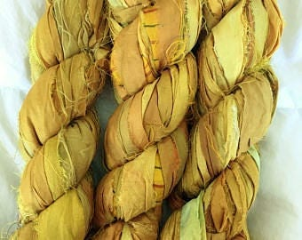 SALE 100 grams 1 skein recycled silk ribbon  knitting crochet craft embellishment yarn mixed shades of mustard yellow
