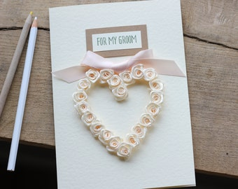 Husband Wedding Day Gift, To My Groom Card, Personalised Love Card Fiance, Cream and Light Peach Themed, Heart Keepsake