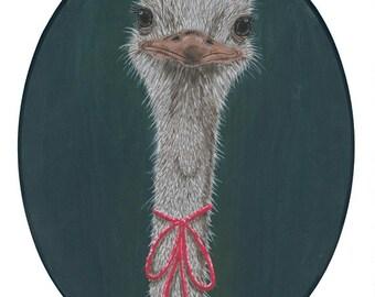 Lady Ostrich giclee art print 8x10