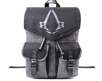 Assassins Creed Syndicate Logo Backpack knapsack, Cosplay gift for laptop school
