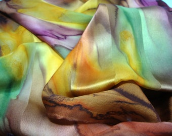 Scarf, Silk, Hand Dyed Fall Autumn Leaves Silk Scarf