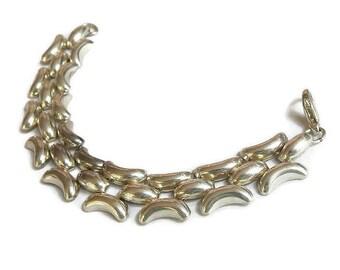Silver Tone Multiple Link Bracelet Vintage 1970's