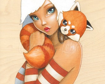 "Kawaii Art, Red Panda Painting, Cute Fine Art Print, ""Kawaii Kuddles"" 8x10"