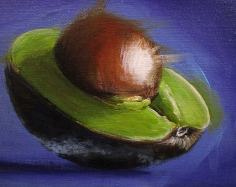 Avocado Highlight - original daily painting by Kellie Marian Hill