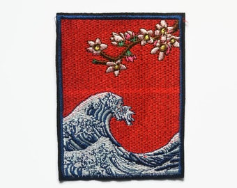 Patches - Sew On Patch - Japanese Patches Sea Patch Wave Patch Art Patches Large Patches - Large Sew on Patches - Japanese Applique Patch