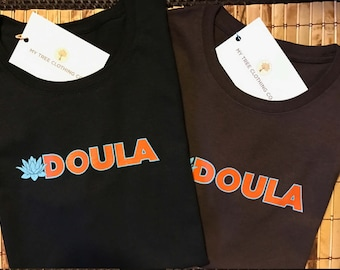 Doula- Lotus Design- Brown or Black T-Shirt (Teal and Orange Design) /  Doula Gift  / Gratitude / Natural Birth